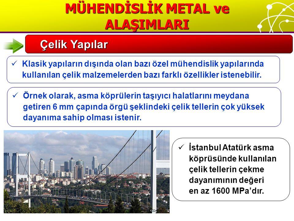 İstanbul Atatürk asma köprüsünde kullanılan çelik tellerin çekme dayanımının değeri en az 1600 MPa'dır.