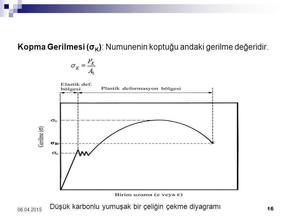 Kopma Gerilmesi (σ K ): Numunenin koptuğu andaki gerilme değeridir. Düşük karbonlu yumuşak bir çeliğin çekme diyagramı 06.04.2015 16