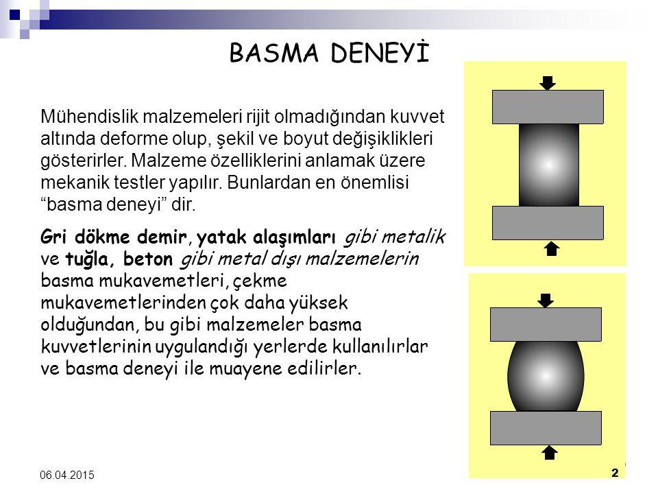 BASMA DENEYİ Mühendislik malzemeleri rijit olmadığından kuvvet altında deforme olup, şekil ve boyut değişiklikleri gösterirler. Malzeme özelliklerini