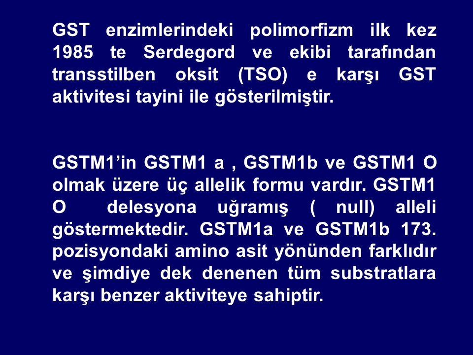 GST enzimlerindeki polimorfizm ilk kez 1985 te Serdegord ve ekibi tarafından transstilben oksit (TSO) e karşı GST aktivitesi tayini ile gösterilmiştir