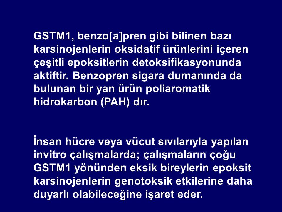 GSTM1, benzo  a  pren gibi bilinen bazı karsinojenlerin oksidatif ürünlerini içeren çeşitli epoksitlerin detoksifikasyonunda aktiftir. Benzopren sig