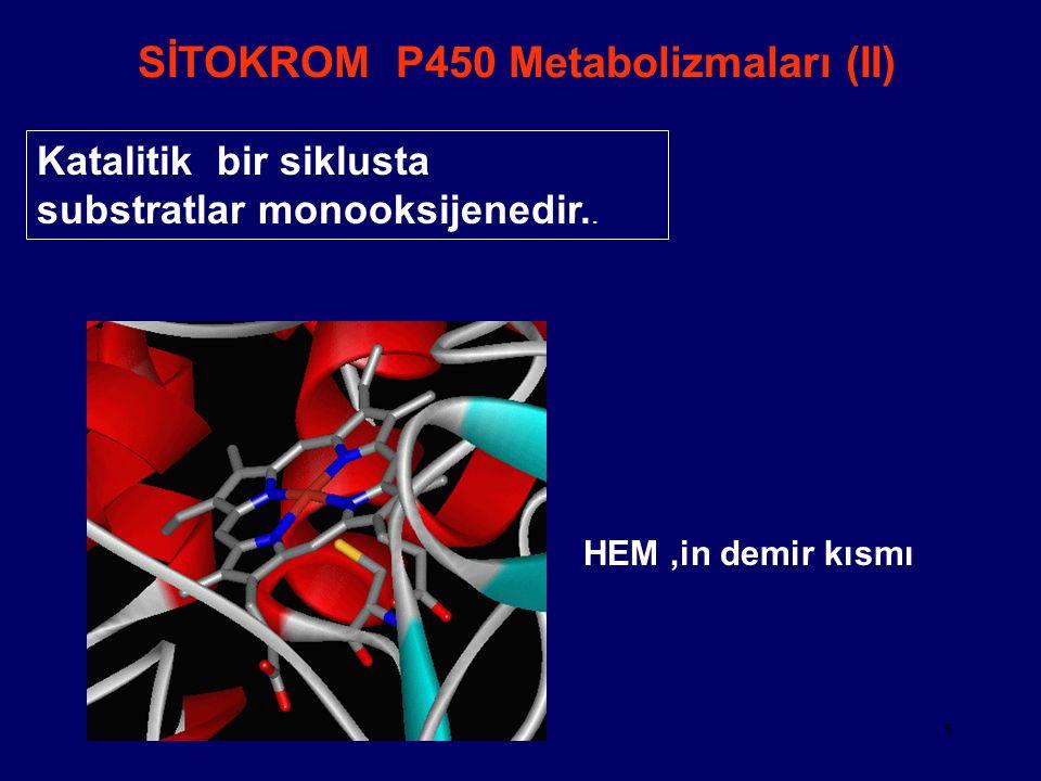 5 SİTOKROM P450 Metabolizmaları (II) Katalitik bir siklusta substratlar monooksijenedir.. HEM 'in demir kısmı