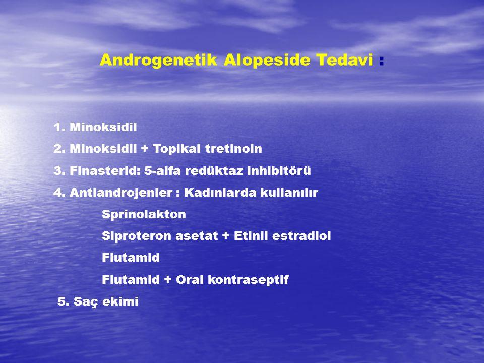Androgenetik Alopeside Tedavi : 1. Minoksidil 2. Minoksidil + Topikal tretinoin 3. Finasterid: 5-alfa redüktaz inhibitörü 4. Antiandrojenler : Kadınla