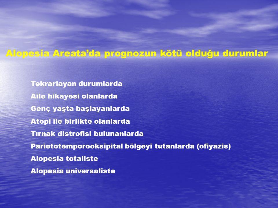 Alopesia Areata'da prognozun kötü olduğu durumlar Tekrarlayan durumlarda Aile hikayesi olanlarda Genç yaşta başlayanlarda Atopi ile birlikte olanlarda