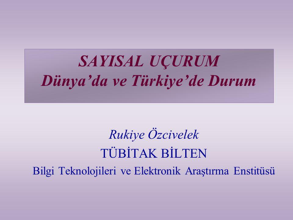 SAYISAL UÇURUM Dünya'da ve Türkiye'de Durum Rukiye Özcivelek TÜBİTAK BİLTEN Bilgi Teknolojileri ve Elektronik Araştırma Enstitüsü