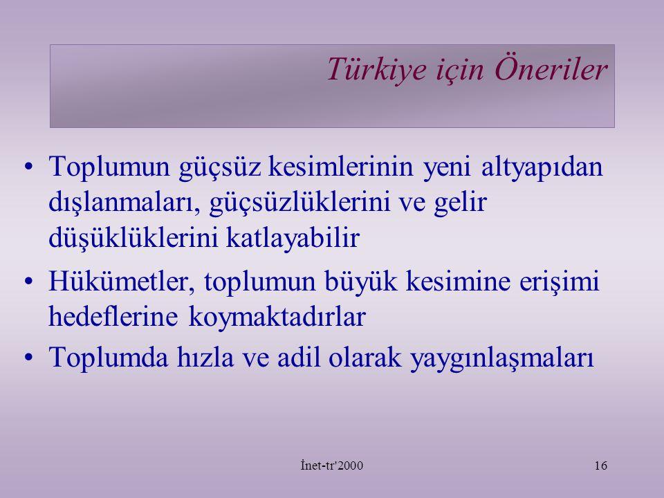 İnet-tr 200016 Türkiye için Öneriler Toplumun güçsüz kesimlerinin yeni altyapıdan dışlanmaları, güçsüzlüklerini ve gelir düşüklüklerini katlayabilir Hükümetler, toplumun büyük kesimine erişimi hedeflerine koymaktadırlar Toplumda hızla ve adil olarak yaygınlaşmaları