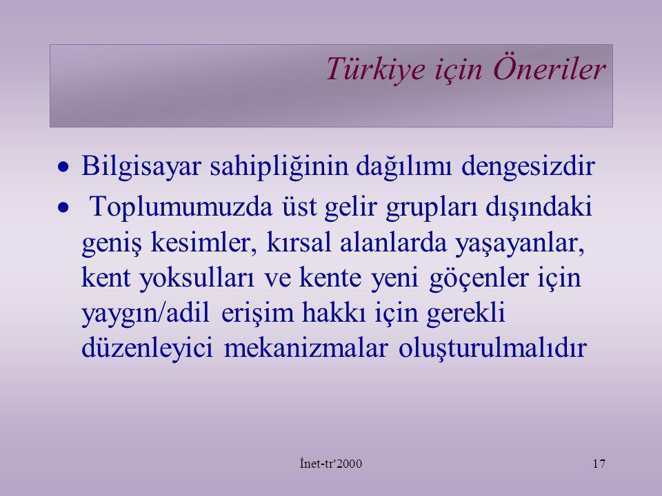 İnet-tr 200017 Türkiye için Öneriler  Bilgisayar sahipliğinin dağılımı dengesizdir  Toplumumuzda üst gelir grupları dışındaki geniş kesimler, kırsal alanlarda yaşayanlar, kent yoksulları ve kente yeni göçenler için yaygın/adil erişim hakkı için gerekli düzenleyici mekanizmalar oluşturulmalıdır