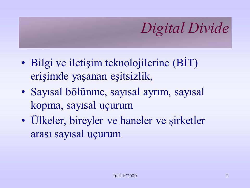 İnet-tr 20002 Digital Divide Bilgi ve iletişim teknolojilerine (BİT) erişimde yaşanan eşitsizlik, Sayısal bölünme, sayısal ayrım, sayısal kopma, sayısal uçurum Ülkeler, bireyler ve haneler ve şirketler arası sayısal uçurum
