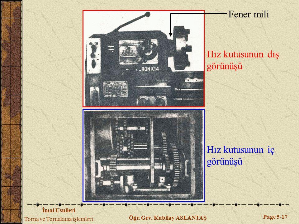 İmal Usulleri Torna ve Tornalama işlemleri Page 5-17 Öğr. Grv. Kubilay ASLANTAŞ Hız kutusunun dış görünüşü Hız kutusunun iç görünüşü Fener mili