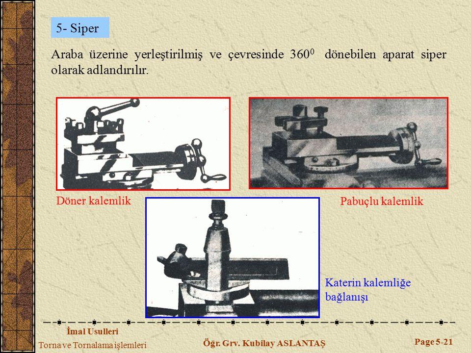 İmal Usulleri Torna ve Tornalama işlemleri Page 5-21 Öğr. Grv. Kubilay ASLANTAŞ 5- Siper Araba üzerine yerleştirilmiş ve çevresinde 360 0 dönebilen ap