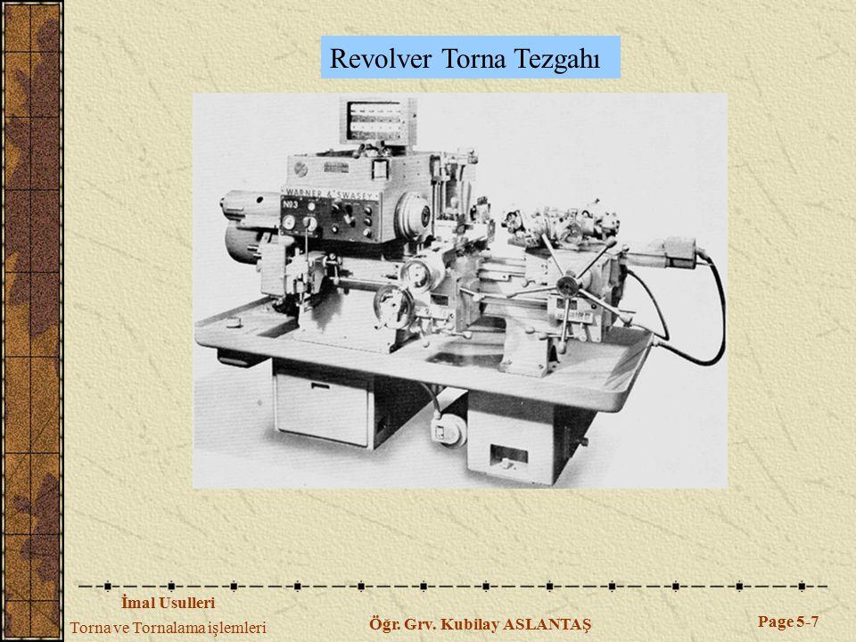 İmal Usulleri Torna ve Tornalama işlemleri Page 5-7 Öğr. Grv. Kubilay ASLANTAŞ Revolver Torna Tezgahı