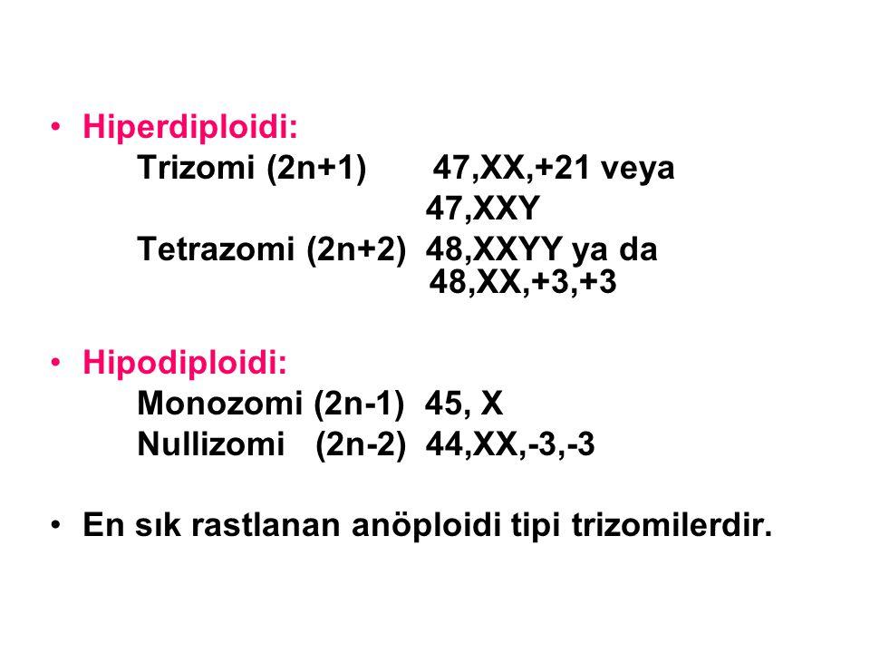 Hiperdiploidi: Trizomi (2n+1) 47,XX,+21 veya 47,XXY Tetrazomi (2n+2) 48,XXYY ya da 48,XX,+3,+3 Hipodiploidi: Monozomi (2n-1) 45, X Nullizomi (2n-2) 44
