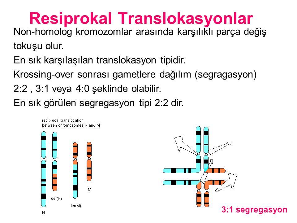 Non-homolog kromozomlar arasında karşılıklı parça değiş tokuşu olur. En sık karşılaşılan translokasyon tipidir. Krossing-over sonrası gametlere dağılı
