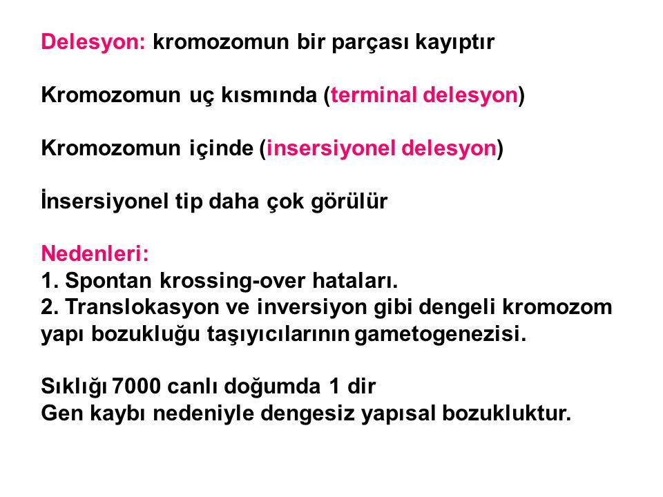 Delesyon: kromozomun bir parçası kayıptır Kromozomun uç kısmında (terminal delesyon) Kromozomun içinde (insersiyonel delesyon) İnsersiyonel tip daha ç
