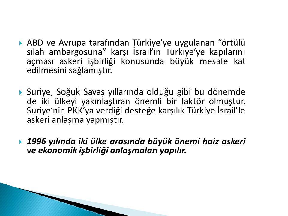 """ ABD ve Avrupa tarafından Türkiye'ye uygulanan """"örtülü silah ambargosuna"""" karşı İsrail'in Türkiye'ye kapılarını açması askeri işbirliği konusunda büy"""