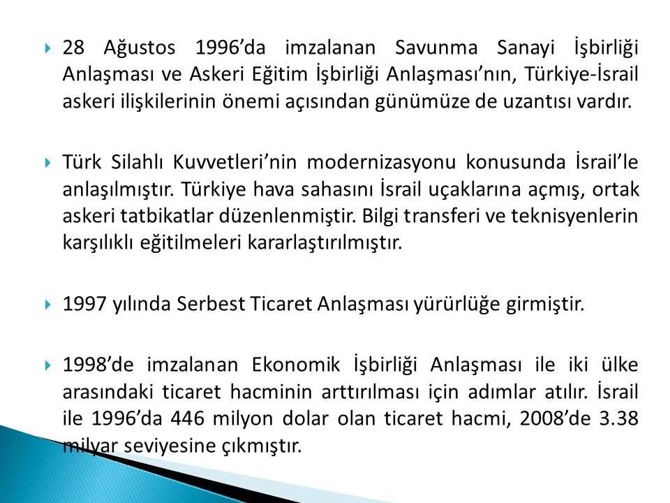  28 Ağustos 1996'da imzalanan Savunma Sanayi İşbirliği Anlaşması ve Askeri Eğitim İşbirliği Anlaşması'nın, Türkiye-İsrail askeri ilişkilerinin önemi