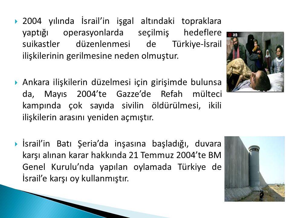  2004 yılında İsrail'in işgal altındaki topraklara yaptığı operasyonlarda seçilmiş hedeflere suikastler düzenlenmesi de Türkiye-İsrail ilişkilerinin
