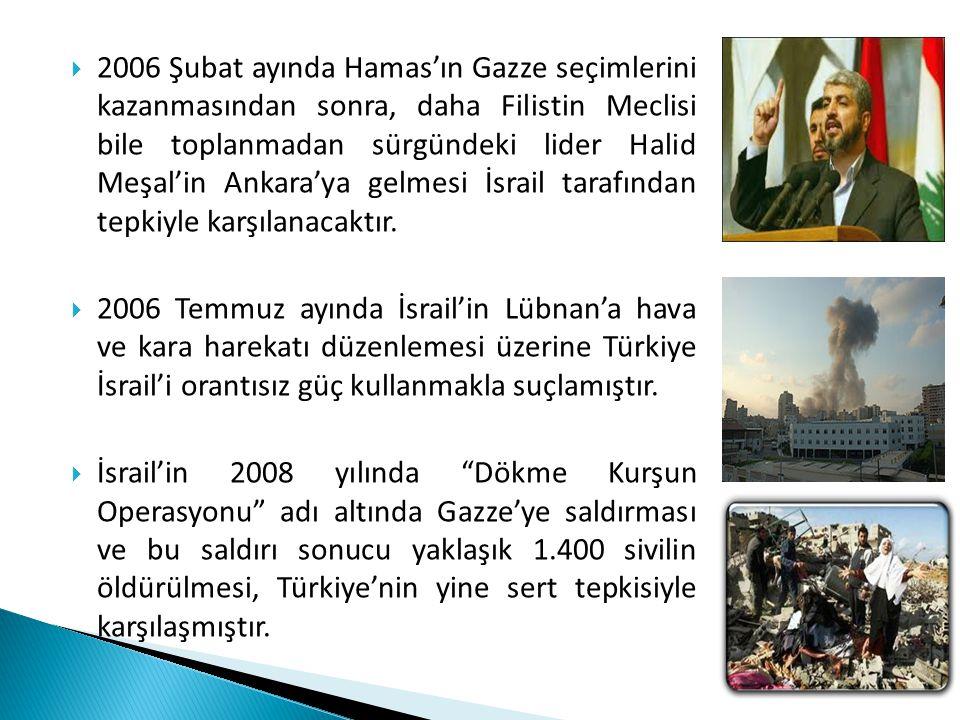  2006 Şubat ayında Hamas'ın Gazze seçimlerini kazanmasından sonra, daha Filistin Meclisi bile toplanmadan sürgündeki lider Halid Meşal'in Ankara'ya g