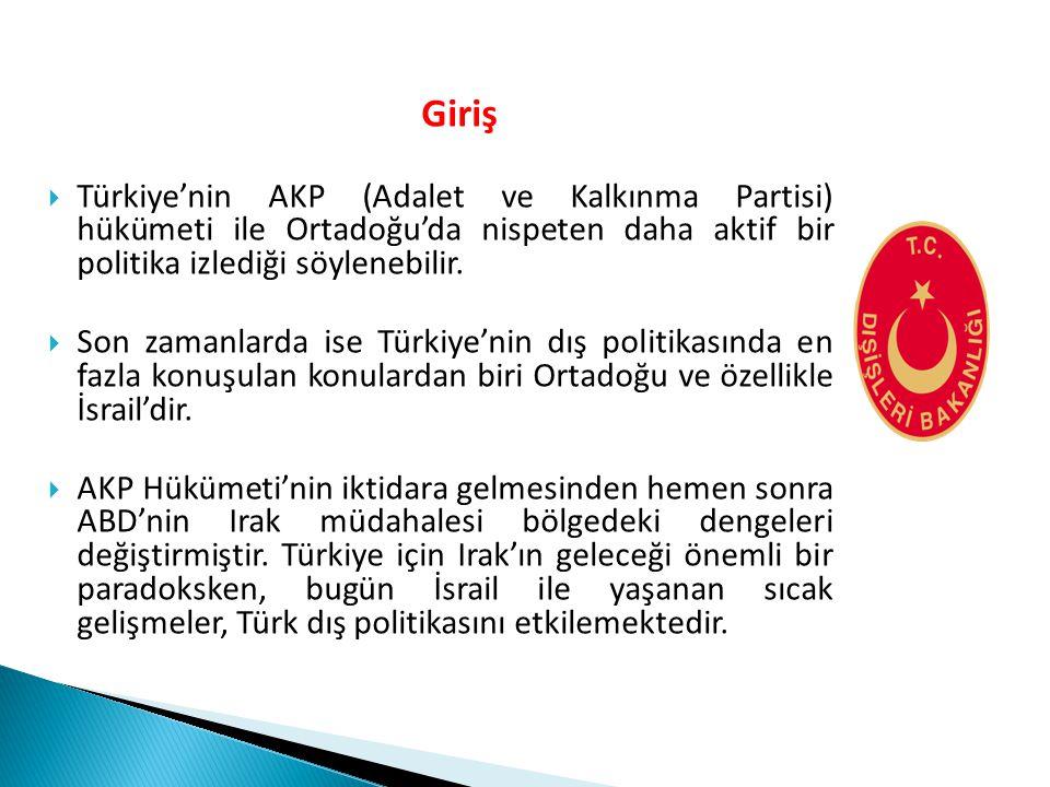 Giriş  Türkiye'nin AKP (Adalet ve Kalkınma Partisi) hükümeti ile Ortadoğu'da nispeten daha aktif bir politika izlediği söylenebilir.  Son zamanlarda