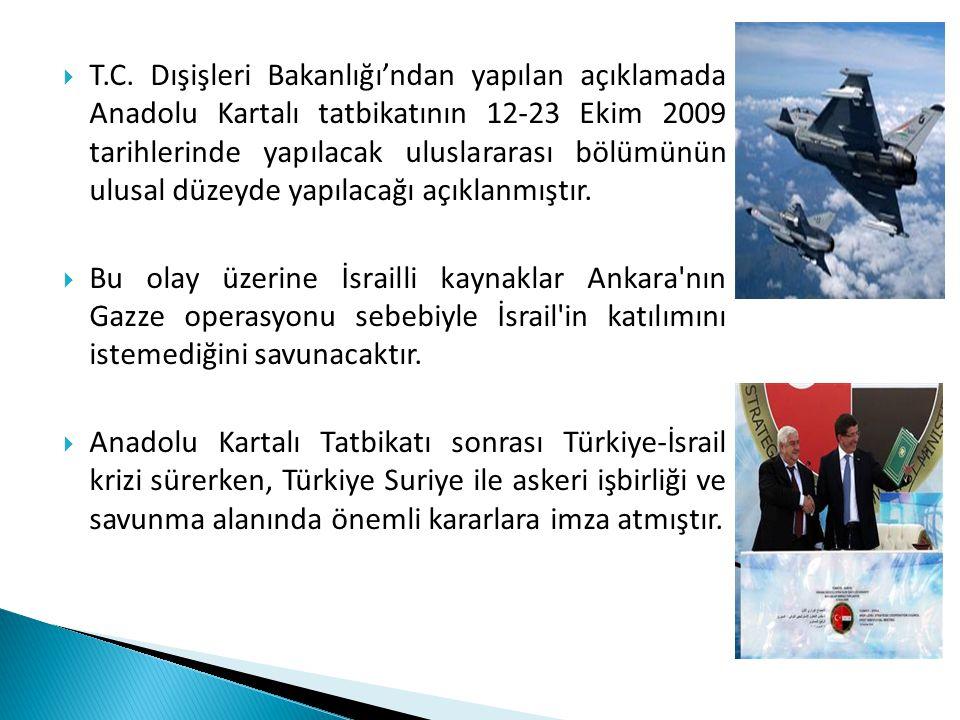  T.C. Dışişleri Bakanlığı'ndan yapılan açıklamada Anadolu Kartalı tatbikatının 12-23 Ekim 2009 tarihlerinde yapılacak uluslararası bölümünün ulusal d