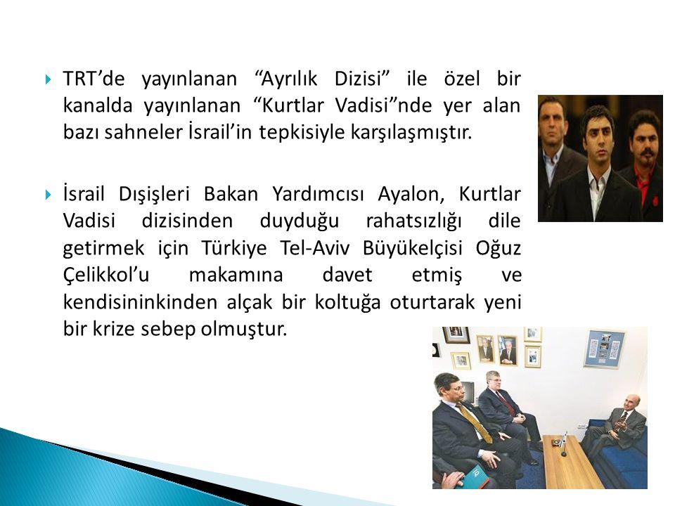 """ TRT'de yayınlanan """"Ayrılık Dizisi"""" ile özel bir kanalda yayınlanan """"Kurtlar Vadisi""""nde yer alan bazı sahneler İsrail'in tepkisiyle karşılaşmıştır. """