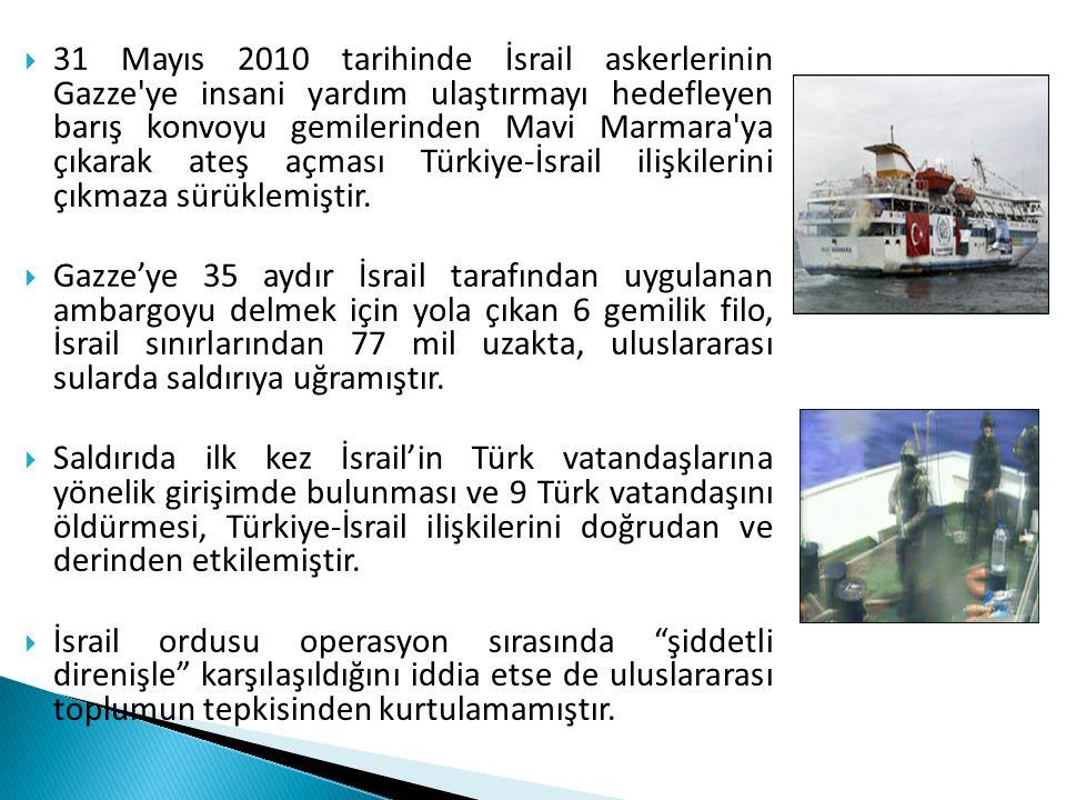  31 Mayıs 2010 tarihinde İsrail askerlerinin Gazze'ye insani yardım ulaştırmayı hedefleyen barış konvoyu gemilerinden Mavi Marmara'ya çıkarak ateş aç