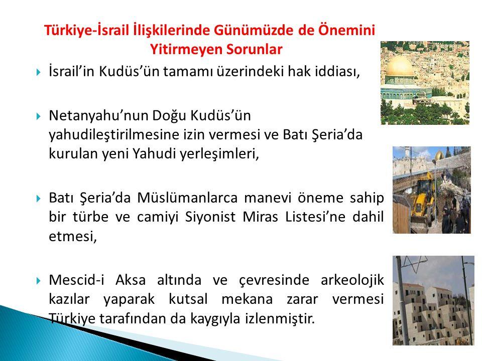 Türkiye-İsrail İlişkilerinde Günümüzde de Önemini Yitirmeyen Sorunlar  İsrail'in Kudüs'ün tamamı üzerindeki hak iddiası,  Netanyahu'nun Doğu Kudüs'ü