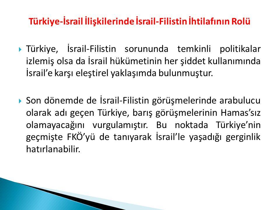 Türkiye-İsrail İlişkilerinde İsrail-Filistin İhtilafının Rolü  Türkiye, İsrail-Filistin sorununda temkinli politikalar izlemiş olsa da İsrail hükümet