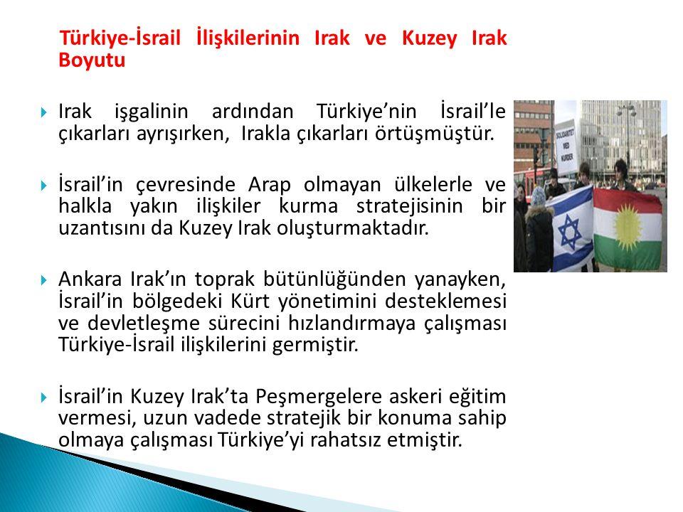 Türkiye-İsrail İlişkilerinin Irak ve Kuzey Irak Boyutu  Irak işgalinin ardından Türkiye'nin İsrail'le çıkarları ayrışırken, Irakla çıkarları örtüşmüş