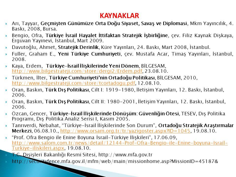 KAYNAKLAR  Arı, Tayyar, Geçmişten Günümüze Orta Doğu Siyaset, Savaş ve Diplomasi, Mkm Yayıncılık, 4. Baskı, 2008, Bursa.  Bengio, Ofra, Türkiye İsra