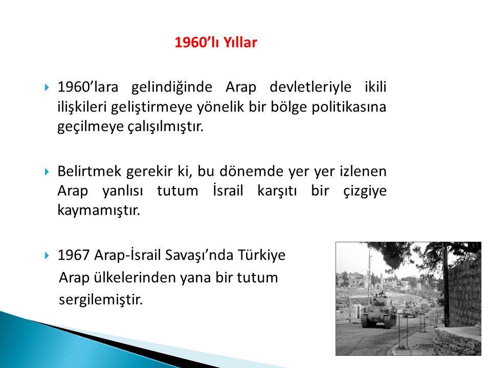  Bu yıllarda, Türkiye'de sol eğilimli gençlerin Filistin örgütlerine karşı yakınlık duyması,  1969 yılında Mescid-i Aksa'nın yakılması,  1973 Arap-İsrail Savaşı,  1975'te Türkiye'nin, İsrail'in terörist olarak kabul ettiği Filistin Kurtuluş Örgütü'nü tanıması,  Türkiye'nin siyonizmin bir çeşit ırkçılık ve ırk ayrımı olduğuna dair BM Genel Kurulu'nda 1975'te verilen karar lehinde oy kullanması karşılıklı ilişkileri olumsuz etkilemiştir.