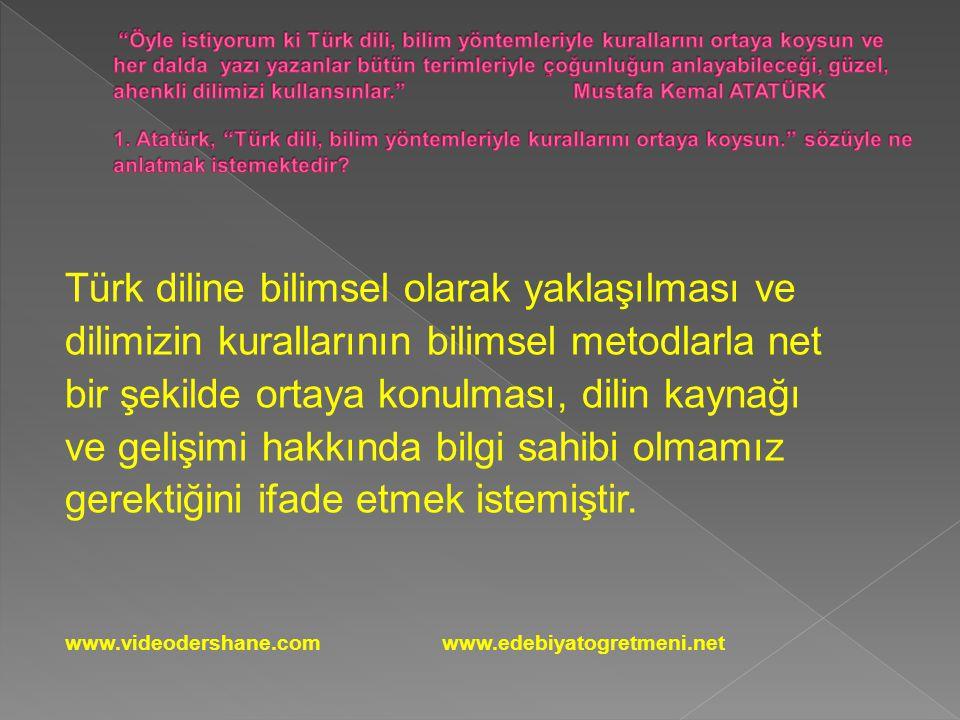 Türk diline bilimsel olarak yaklaşılması ve dilimizin kurallarının bilimsel metodlarla net bir şekilde ortaya konulması, dilin kaynağı ve gelişimi hakkında bilgi sahibi olmamız gerektiğini ifade etmek istemiştir.