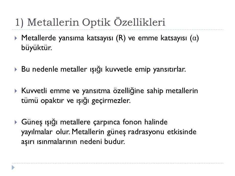 1) Metallerin Optik Özellikleri  Metallerde yansıma katsayısı (R) ve emme katsayısı ( α ) büyüktür.  Bu nedenle metaller ışı ğ ı kuvvetle emip yansı