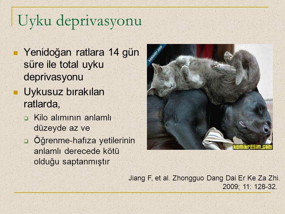 Uyku deprivasyonu Yenidoğan ratlara 14 gün süre ile total uyku deprivasyonu Uykusuz bırakılan ratlarda,  Kilo alımının anlamlı düzeyde az ve  Öğrenm