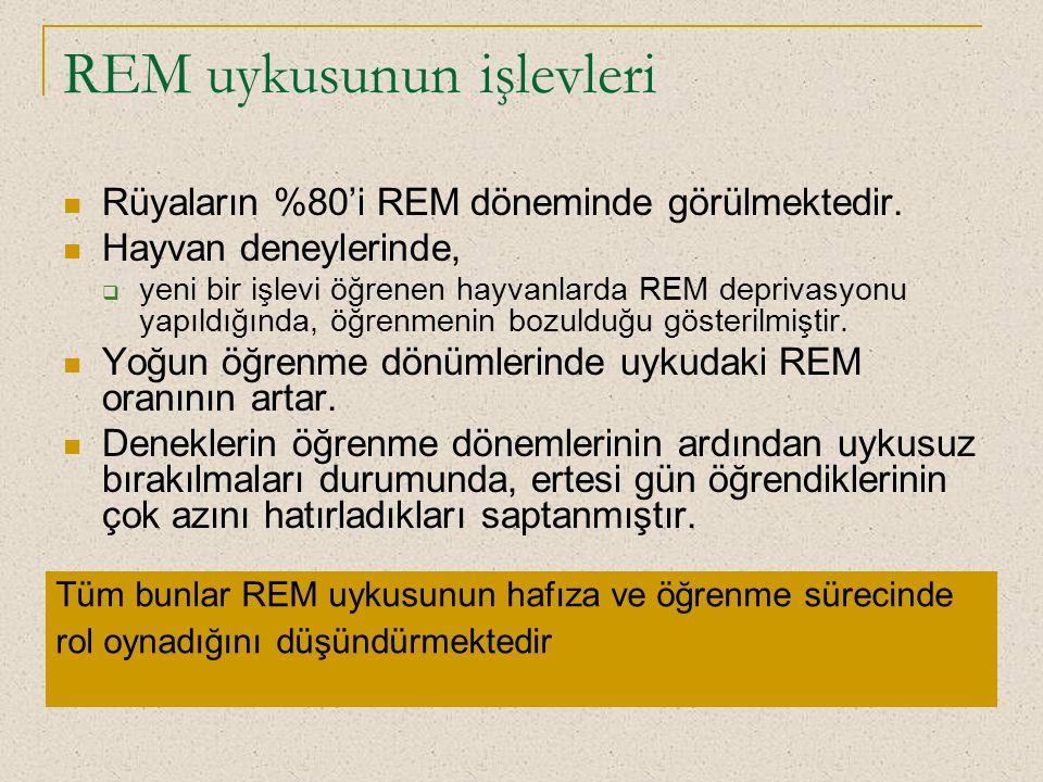 REM uykusunun işlevleri Rüyaların %80'i REM döneminde görülmektedir. Hayvan deneylerinde,  yeni bir işlevi öğrenen hayvanlarda REM deprivasyonu yapıl
