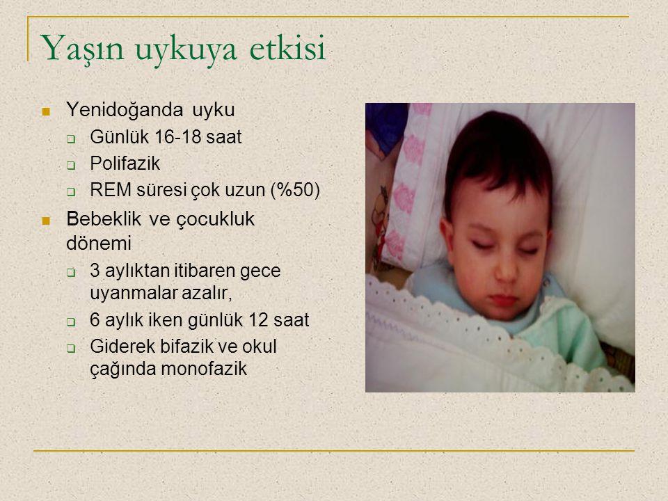 Yaşın uykuya etkisi Yenidoğanda uyku  Günlük 16-18 saat  Polifazik  REM süresi çok uzun (%50) Bebeklik ve çocukluk dönemi  3 aylıktan itibaren gec
