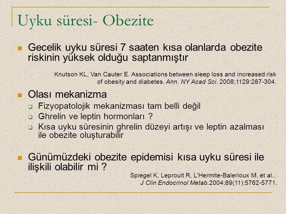 Uyku süresi- Obezite Gecelik uyku süresi 7 saaten kısa olanlarda obezite riskinin yüksek olduğu saptanmıştır Olası mekanizma  Fizyopatolojik mekanizm