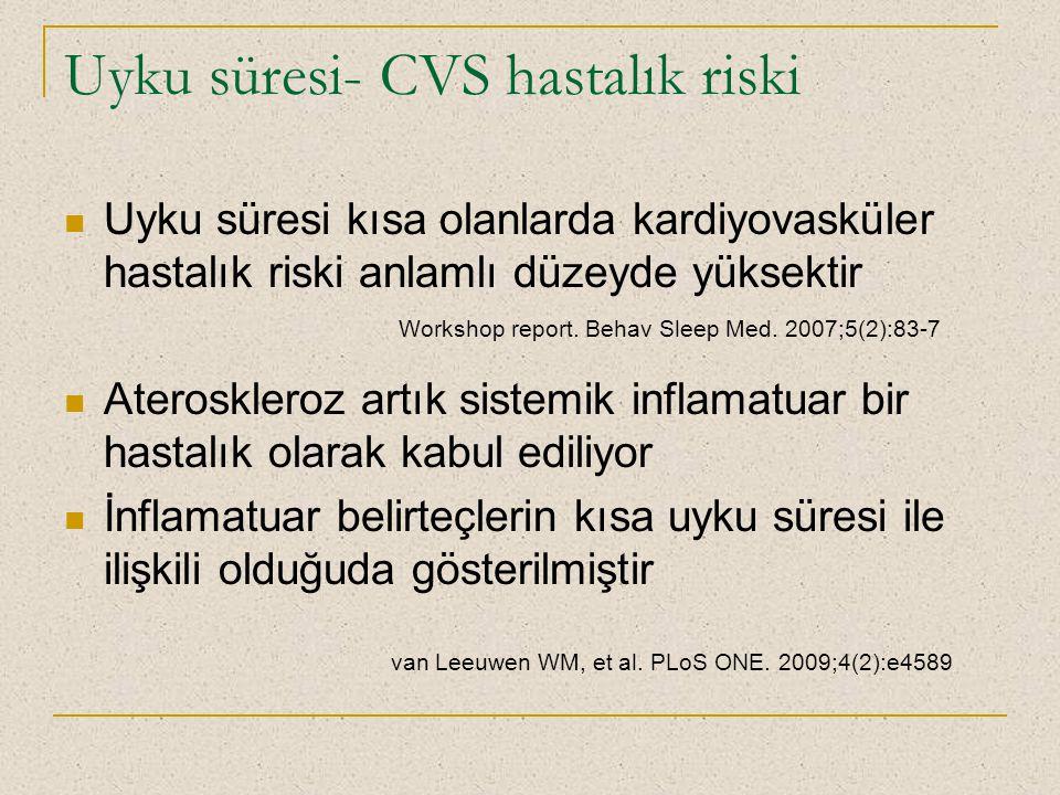 Uyku süresi- CVS hastalık riski Uyku süresi kısa olanlarda kardiyovasküler hastalık riski anlamlı düzeyde yüksektir Ateroskleroz artık sistemik inflam