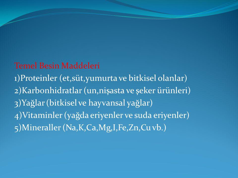Temel Besin Maddeleri 1)Proteinler (et,süt,yumurta ve bitkisel olanlar) 2)Karbonhidratlar (un,nişasta ve şeker ürünleri) 3)Yağlar (bitkisel ve hayvans