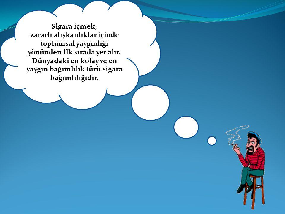 Sigara içmek, zararlı alışkanlıklar içinde toplumsal yaygınlığı yönünden ilk sırada yer alır. Dünyadaki en kolay ve en yaygın bağımlılık türü sigara b