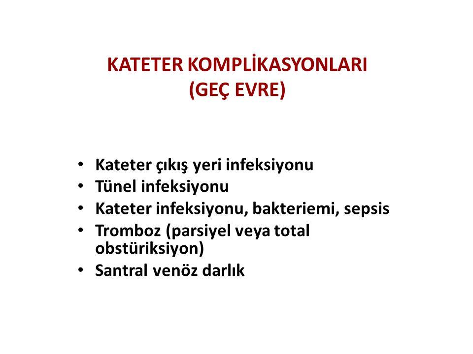 KATETER KOMPLİKASYONLARI (GEÇ EVRE) Kateter çıkış yeri infeksiyonu Tünel infeksiyonu Kateter infeksiyonu, bakteriemi, sepsis Tromboz (parsiyel veya to