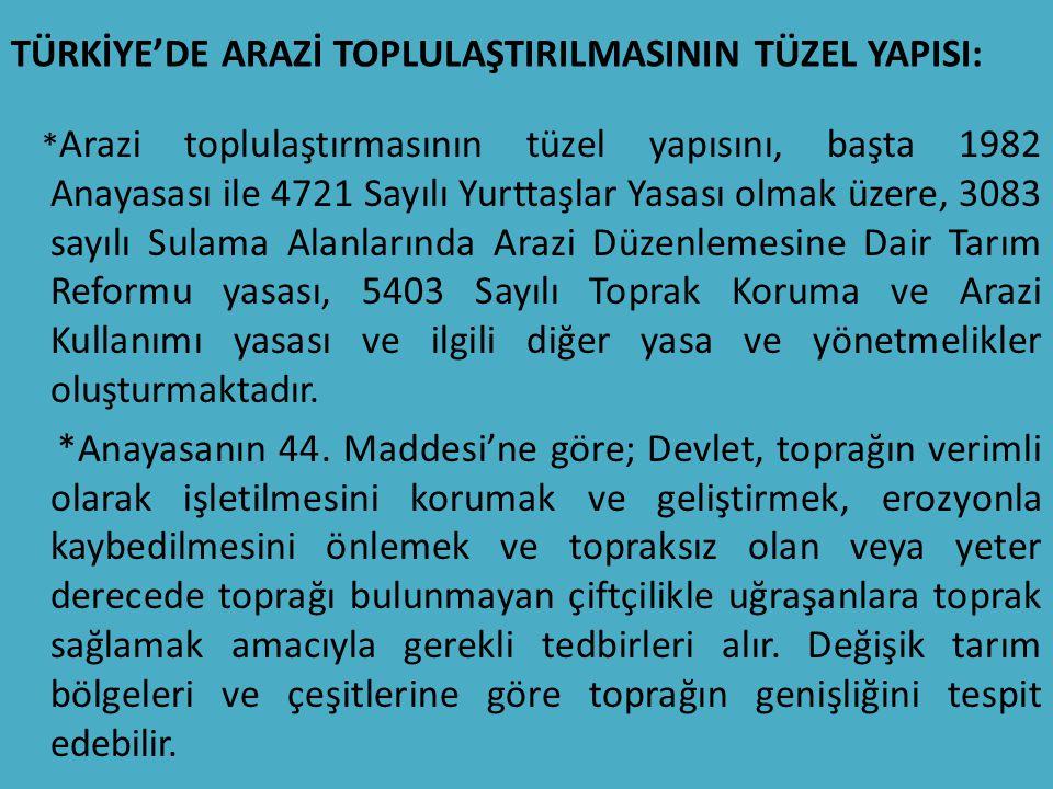 TÜRKİYE'DE ARAZİ TOPLULAŞTIRILMASININ TÜZEL YAPISI: * Arazi toplulaştırmasının tüzel yapısını, başta 1982 Anayasası ile 4721 Sayılı Yurttaşlar Yasası
