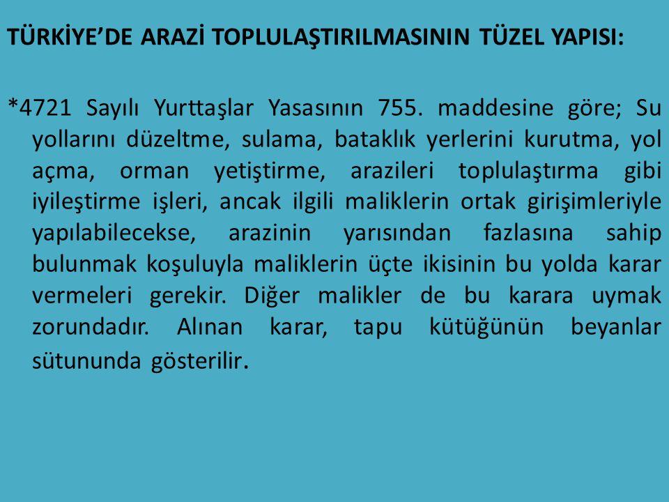 TÜRKİYE'DE ARAZİ TOPLULAŞTIRILMASININ TÜZEL YAPISI: *4721 Sayılı Yurttaşlar Yasasının 755.