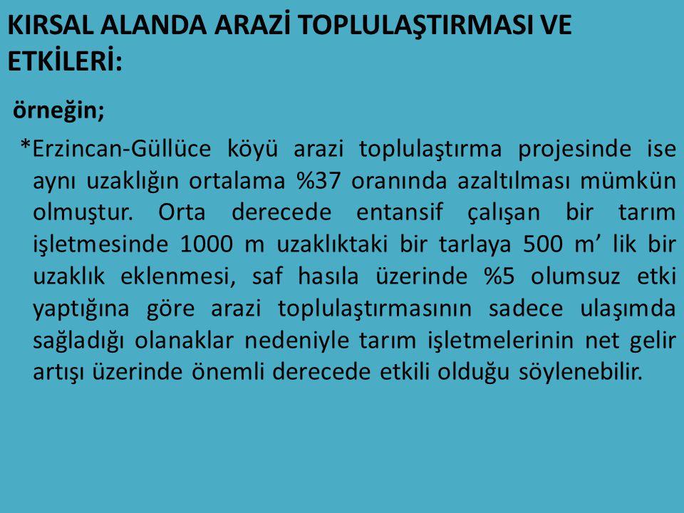 KIRSAL ALANDA ARAZİ TOPLULAŞTIRMASI VE ETKİLERİ: örneğin; *Erzincan-Güllüce köyü arazi toplulaştırma projesinde ise aynı uzaklığın ortalama %37 oranında azaltılması mümkün olmuştur.