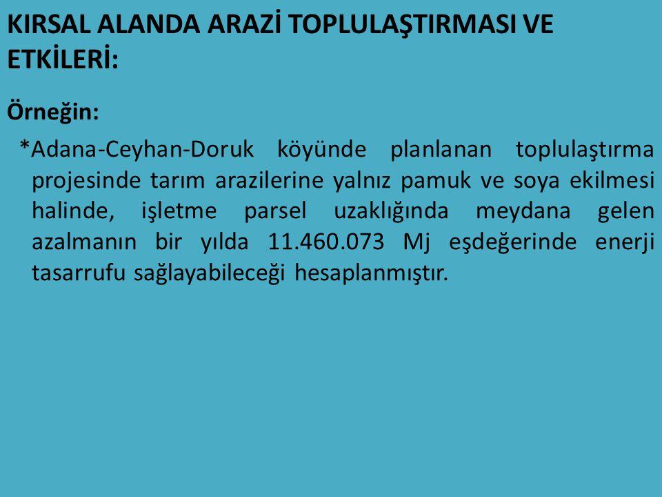 KIRSAL ALANDA ARAZİ TOPLULAŞTIRMASI VE ETKİLERİ: Örneğin: *Adana-Ceyhan-Doruk köyünde planlanan toplulaştırma projesinde tarım arazilerine yalnız pamuk ve soya ekilmesi halinde, işletme parsel uzaklığında meydana gelen azalmanın bir yılda 11.460.073 Mj eşdeğerinde enerji tasarrufu sağlayabileceği hesaplanmıştır.