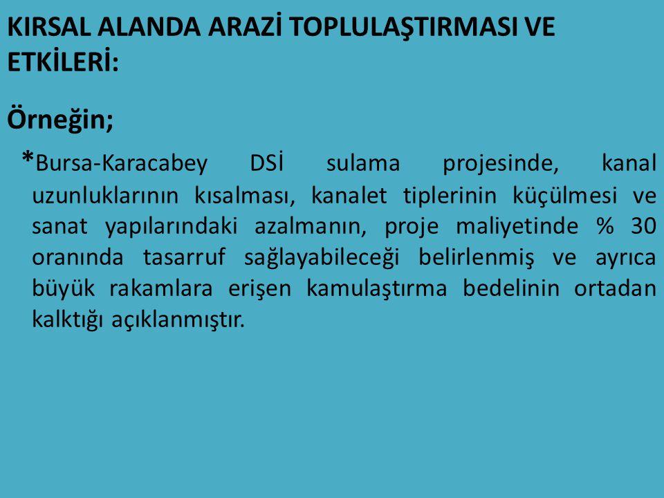 KIRSAL ALANDA ARAZİ TOPLULAŞTIRMASI VE ETKİLERİ: Örneğin; * Bursa-Karacabey DSİ sulama projesinde, kanal uzunluklarının kısalması, kanalet tiplerinin