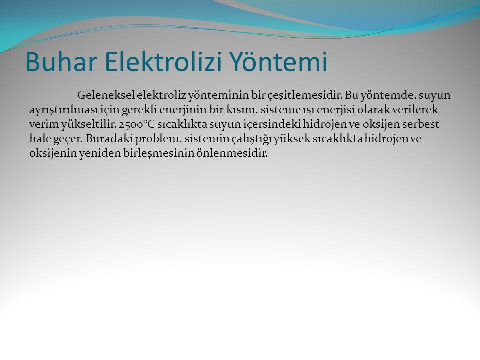 Buhar Elektrolizi Yöntemi Geleneksel elektroliz yönteminin bir çeşitlemesidir. Bu yöntemde, suyun ayrıştırılması için gerekli enerjinin bir kısmı, sis