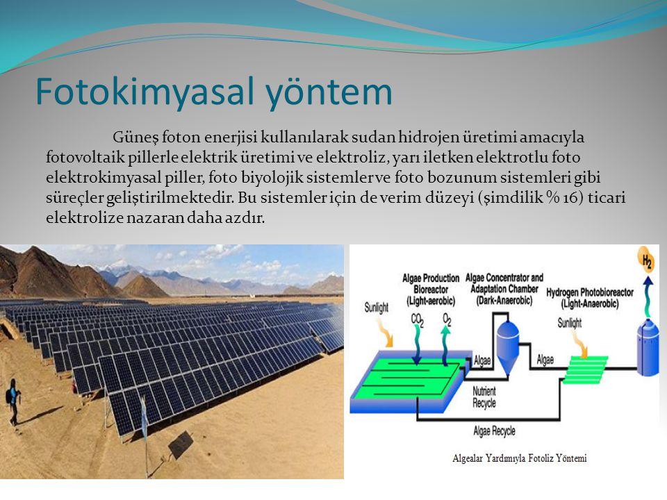 Fotokimyasal yöntem Güneş foton enerjisi kullanılarak sudan hidrojen üretimi amacıyla fotovoltaik pillerle elektrik üretimi ve elektroliz, yarı iletken elektrotlu foto elektrokimyasal piller, foto biyolojik sistemler ve foto bozunum sistemleri gibi süreçler geliştirilmektedir.