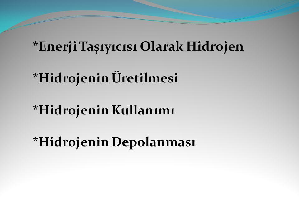 *Enerji Taşıyıcısı Olarak Hidrojen *Hidrojenin Üretilmesi *Hidrojenin Kullanımı *Hidrojenin Depolanması