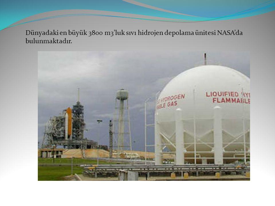 Dünyadaki en büyük 3800 m3'luk sıvı hidrojen depolama ünitesi NASA'da bulunmaktadır.